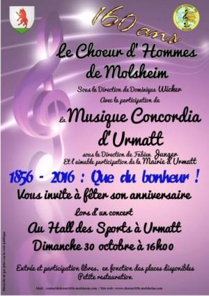 URMATT, concert du 160ième anniversaire du Chœur d'Hommes 1856 de Molsheim